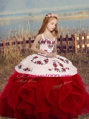 Floor Length Ball Gowns Sleeveless Wine Red Little Girls Pageant Gowns Lace Up