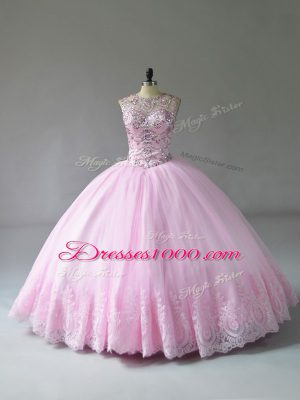 Discount Sleeveless Tulle Floor Length Lace Up Sweet 16 Dress in Baby Pink with Beading and Appliques