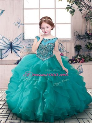 Top Selling Scoop Sleeveless Party Dresses Floor Length Beading and Ruffles Teal Organza