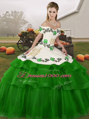 Dynamic Green Ball Gowns Tulle Off The Shoulder Sleeveless Embroidery and Ruffled Layers Lace Up Vestidos de Quinceanera Brush Train
