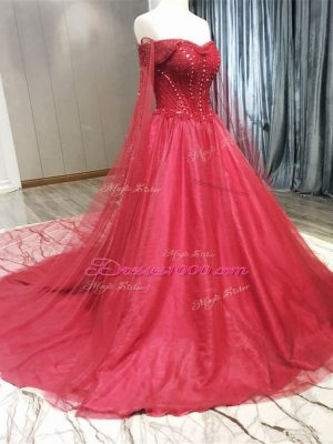 Graceful Coral Red Sleeveless Tulle Court Train Zipper Wedding Dress for Wedding Party
