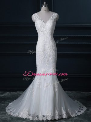 Brush Train Mermaid Wedding Dresses White V-neck Tulle Sleeveless Backless