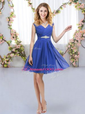 Discount Blue V-neck Neckline Belt Dama Dress Sleeveless Zipper
