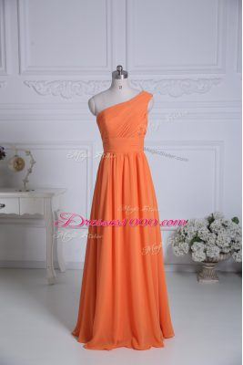 Orange Empire One Shoulder Sleeveless Chiffon Floor Length Zipper Ruching Wedding Party Dress