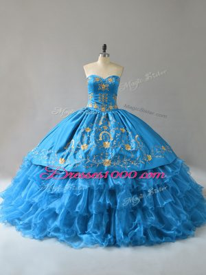 Glorious Blue Sweetheart Lace Up Embroidery and Ruffles Sweet 16 Dress Sleeveless