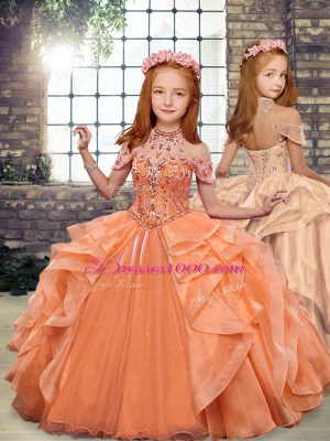 Affordable Beading and Ruffles Pageant Gowns For Girls Orange Lace Up Sleeveless Floor Length