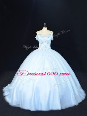 Cheap Blue Sleeveless Beading Lace Up Quinceanera Dresses
