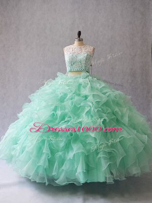 Sexy Apple Green Vestidos de Quinceanera Sweet 16 and Quinceanera with Beading and Lace and Ruffles Scoop Sleeveless Zipper