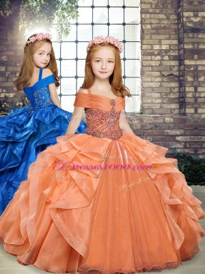 Orange Straps Neckline Beading and Ruffles Little Girl Pageant Dress Sleeveless Lace Up
