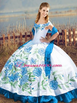 Custom Design Sleeveless Satin Floor Length Lace Up Sweet 16 Dresses in Blue And White with Embroidery