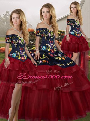 Tulle Off The Shoulder Sleeveless Brush Train Lace Up Embroidery and Ruffled Layers Sweet 16 Dress in Wine Red