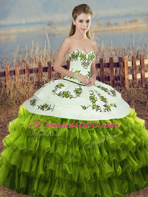 Sleeveless Embroidery and Ruffled Layers and Bowknot Lace Up Quinceanera Gowns