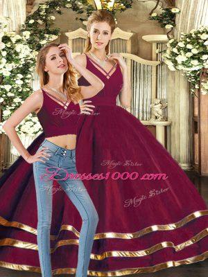 Floor Length Burgundy Sweet 16 Dresses V-neck Sleeveless Backless