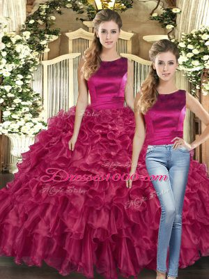 Floor Length Lace Up Quinceanera Dress Fuchsia for Military Ball and Sweet 16 and Quinceanera with Ruffles