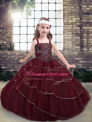 Burgundy Ball Gowns Straps Sleeveless Tulle Floor Length Lace Up Beading and Ruffled Layers Kids Formal Wear
