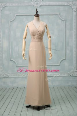 Fashionable Sleeveless Chiffon Floor Length Backless Prom Gown in Champagne with Ruching