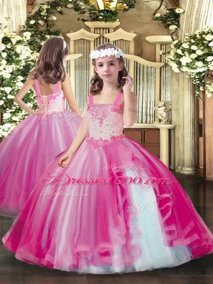 Hot Pink Ball Gowns Beading Little Girl Pageant Dress Lace Up Tulle Sleeveless Floor Length