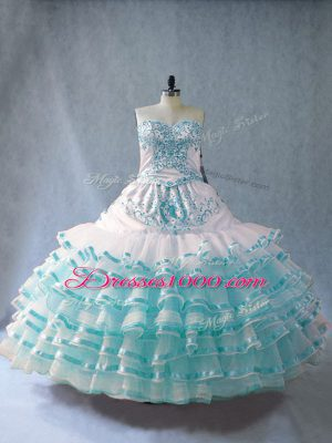 Dynamic Sleeveless Floor Length Embroidery and Ruffled Layers Lace Up Ball Gown Prom Dress with Blue And White