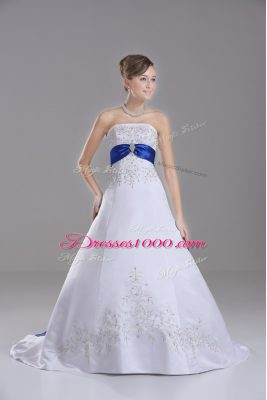 Attractive White Ball Gowns Satin Strapless Sleeveless Beading and Embroidery Lace Up Wedding Dresses Brush Train