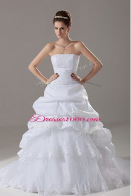 Hot Sale Lace Up Wedding Gown White for Wedding Party with Lace and Pick Ups Brush Train