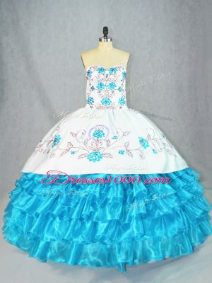 Beautiful Baby Blue Lace Up Sweetheart Embroidery and Ruffled Layers Sweet 16 Quinceanera Dress Organza Sleeveless