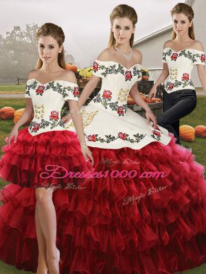Wine Red Lace Up Off The Shoulder Embroidery and Ruffled Layers 15 Quinceanera Dress Organza Sleeveless