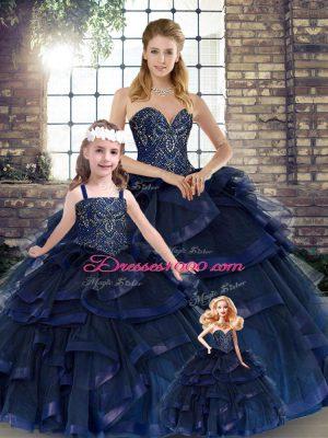 Artistic Floor Length Navy Blue Ball Gown Prom Dress Tulle Sleeveless Beading and Ruffles
