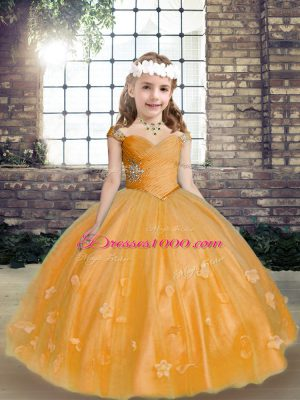 Gold Tulle Lace Up Pageant Dress for Womens Sleeveless Floor Length Beading and Hand Made Flower