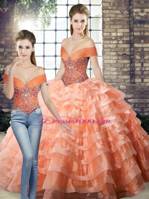 Peach Sweet 16 Dress Military Ball and Sweet 16 and Quinceanera with Beading and Ruffled Layers Off The Shoulder Sleeveless Brush Train Lace Up
