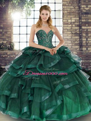 Colorful Floor Length Peacock Green Quinceanera Dresses Sweetheart Sleeveless Lace Up