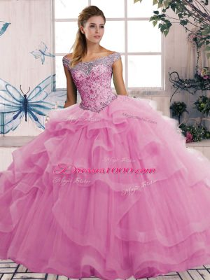Hot Selling Beading and Ruffles Quinceanera Gown Rose Pink Lace Up Sleeveless Floor Length