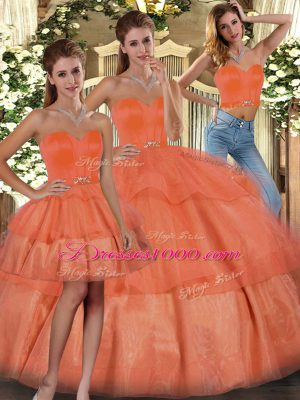 Orange Sweetheart Neckline Ruffled Layers Ball Gown Prom Dress Sleeveless Lace Up
