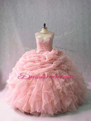 Popular Sleeveless Brush Train Beading and Ruffles and Pick Ups Lace Up Quinceanera Dress