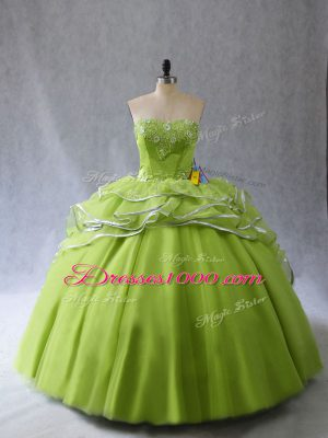Yellow Green Sweetheart Neckline Appliques and Ruffles Quince Ball Gowns Sleeveless Lace Up