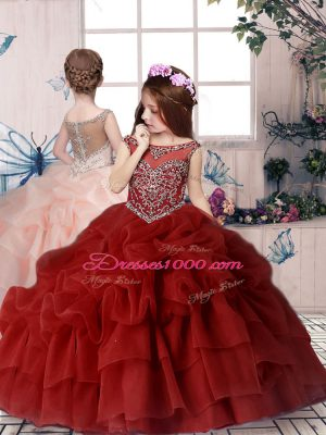 Sleeveless Beading and Pick Ups Lace Up Child Pageant Dress