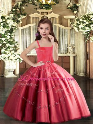 Simple Coral Red Ball Gowns Tulle Straps Sleeveless Beading Floor Length Lace Up Little Girls Pageant Gowns