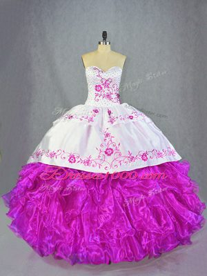 Fuchsia Organza Lace Up Quinceanera Gown Sleeveless Brush Train Beading and Embroidery and Ruffles