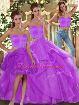 Fancy Lilac Sweet 16 Dress Sweet 16 and Quinceanera with Beading and Ruffles Sweetheart Sleeveless Lace Up