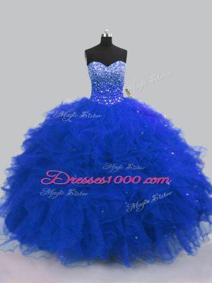 Flirting Royal Blue Sleeveless Floor Length Beading and Ruffles Lace Up Sweet 16 Dress