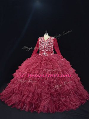 Great Long Sleeves Organza Floor Length Lace Up Ball Gown Prom Dress in Burgundy with Ruffled Layers