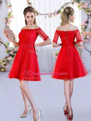 Red Half Sleeves Lace Mini Length Quinceanera Dama Dress