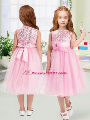 Traditional Organza Sleeveless Tea Length Toddler Flower Girl Dress and Sequins and Hand Made Flower