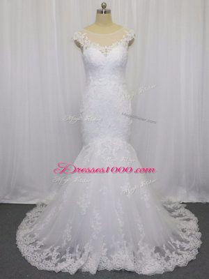 Clasp Handle Bridal Gown White for Wedding Party with Lace Brush Train