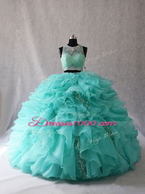 Amazing Sleeveless Brush Train Zipper Beading and Ruffles Sweet 16 Dress