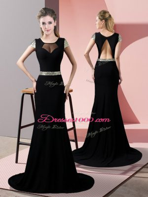 Colorful Black Short Sleeves Sweep Train Sequins Prom Gown