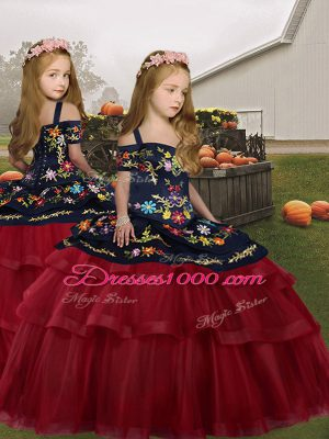 Sleeveless Lace Up Floor Length Embroidery and Ruffled Layers Little Girls Pageant Gowns