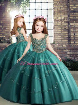 Enchanting Floor Length Teal Kids Pageant Dress Tulle Sleeveless Beading