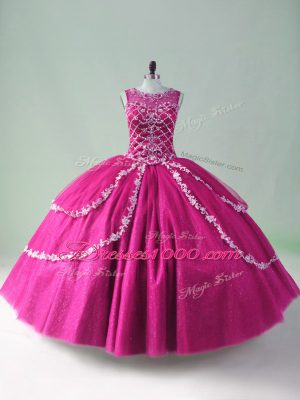 Modest Fuchsia Ball Gowns Tulle Scoop Sleeveless Beading and Appliques Floor Length Zipper 15 Quinceanera Dress