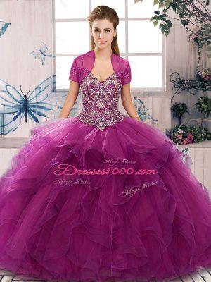 Fine Beading and Ruffles 15th Birthday Dress Fuchsia Lace Up Sleeveless Floor Length