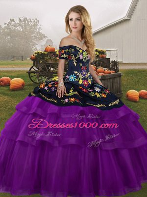 Black And Purple Sleeveless Embroidery and Ruffled Layers Lace Up Quinceanera Dress